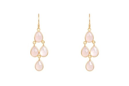Latelita London Mini cascade earring gold rose quartz