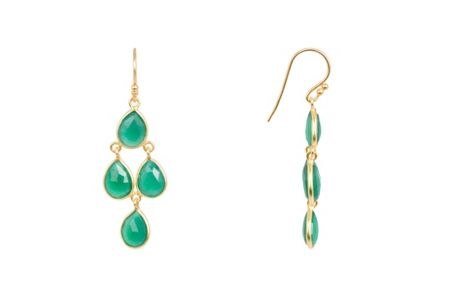 Latelita London Mini cascade earring gold green onyx