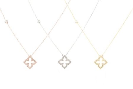 Latelita London Open pointed clover necklace rosegold