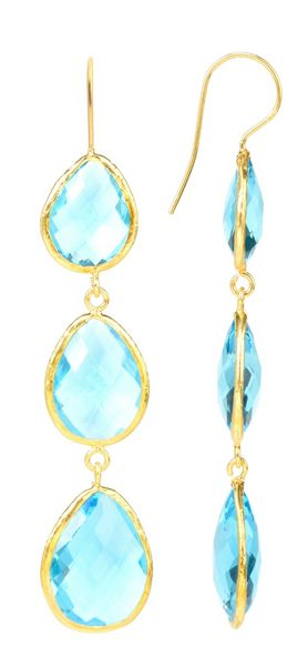 Latelita London Drop Earring Gold Blue Topaz