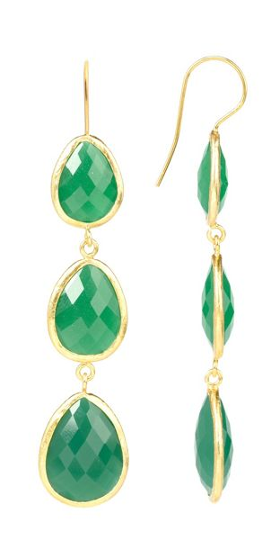 Latelita London Drop Earring Gold Green Onyx
