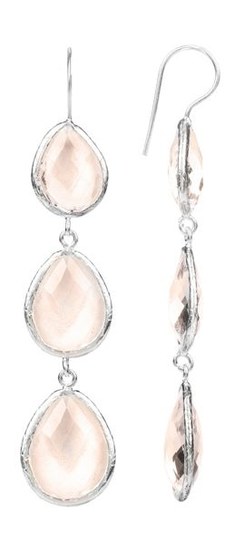 Latelita London Drop Earring Silver Rose Hydro