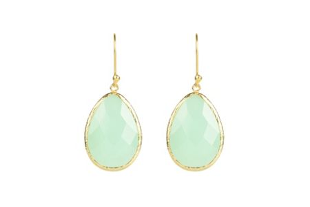 Latelita London Earring Gold Aqua Chalcedony