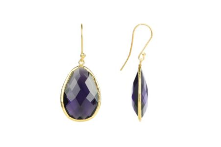 Latelita London Drop Earring Gold Amethyst