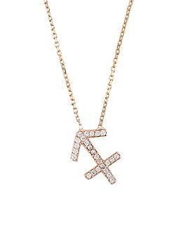 Zodiac necklace rose gold sagittarius