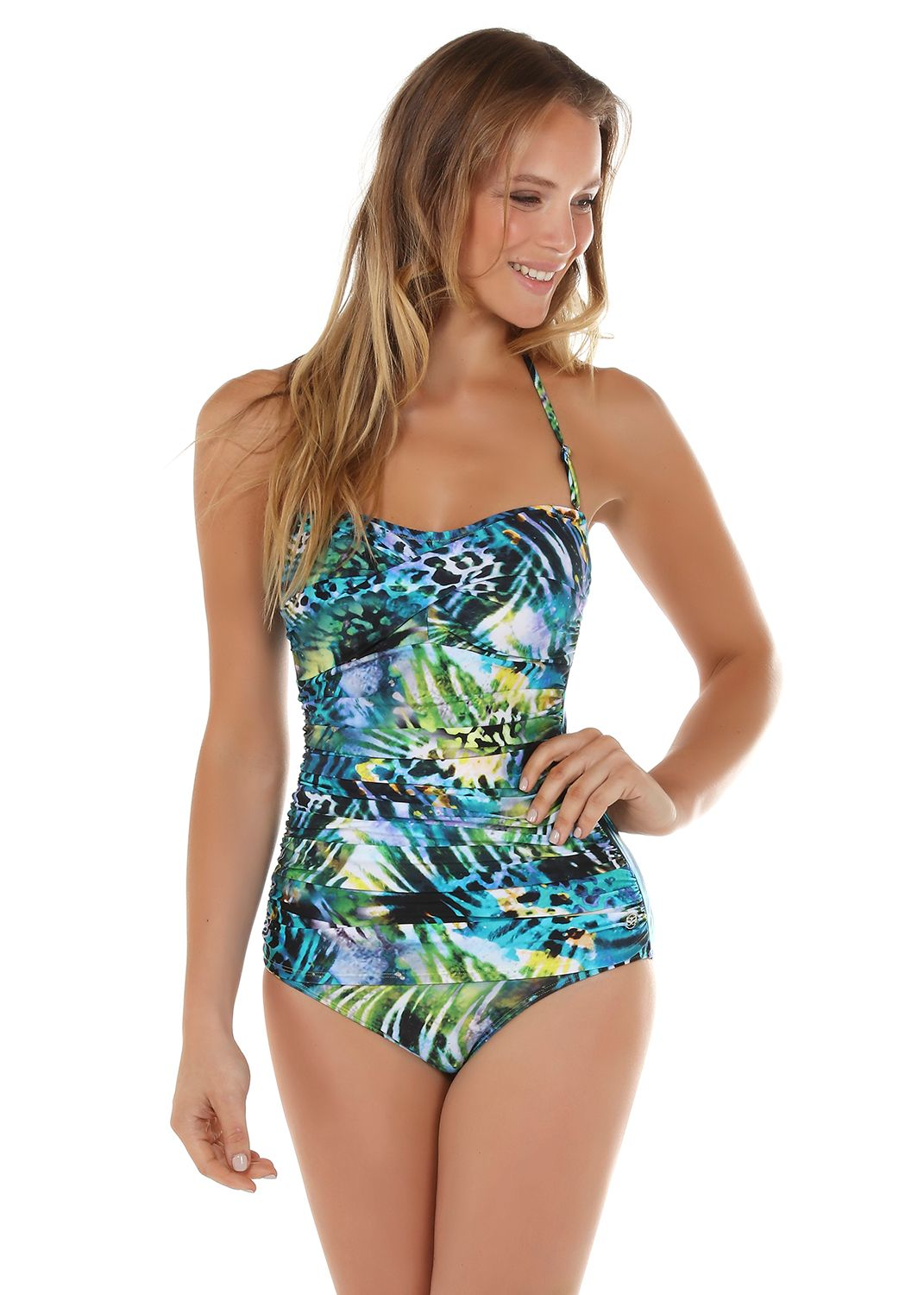 Seaspray Monteverde gathered bandeau swimsuit, Chartreuse