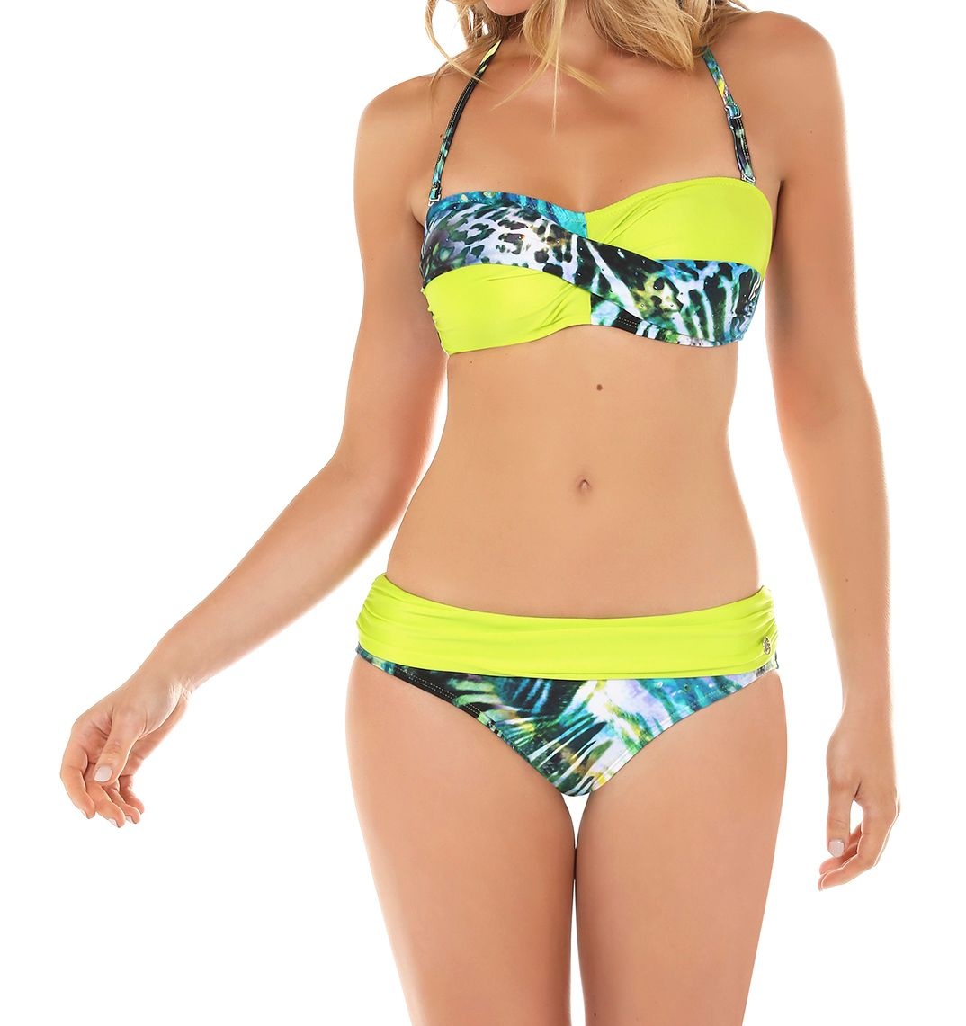 Seaspray Monteverde twist bandeau bikini top, Chartreuse