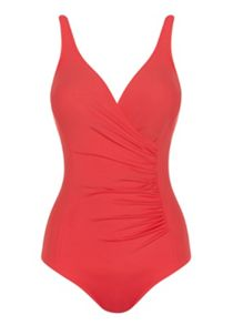 Seaspray Draped crossover swimsuit peony