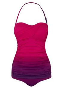 Seaspray Ombre draped bandeau swimsuit lipstiick