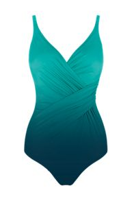 Seaspray Ombre draped front strap swimsuit lagoon