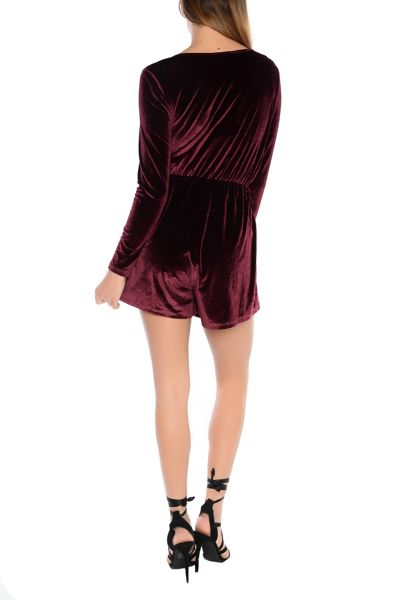 Alice & You Crossover Velvet Playsuit