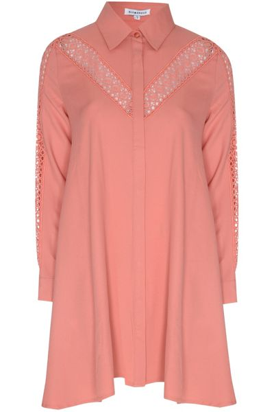 Glamorous Lace Insert Shirt Dress