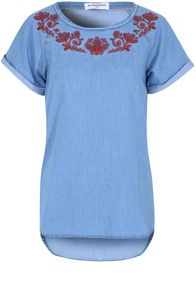 Glamorous Embroidered Denim T-Shirt
