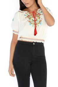 Glamorous Embroidered Cropped Blouse