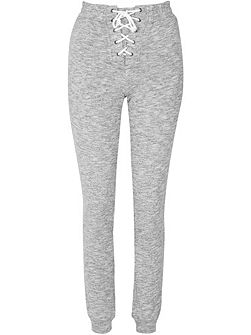 Lace Up Front Grey Marl Jogging Trousers