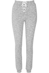 Glamorous Lace Up Front Grey Marl Jogging Trousers