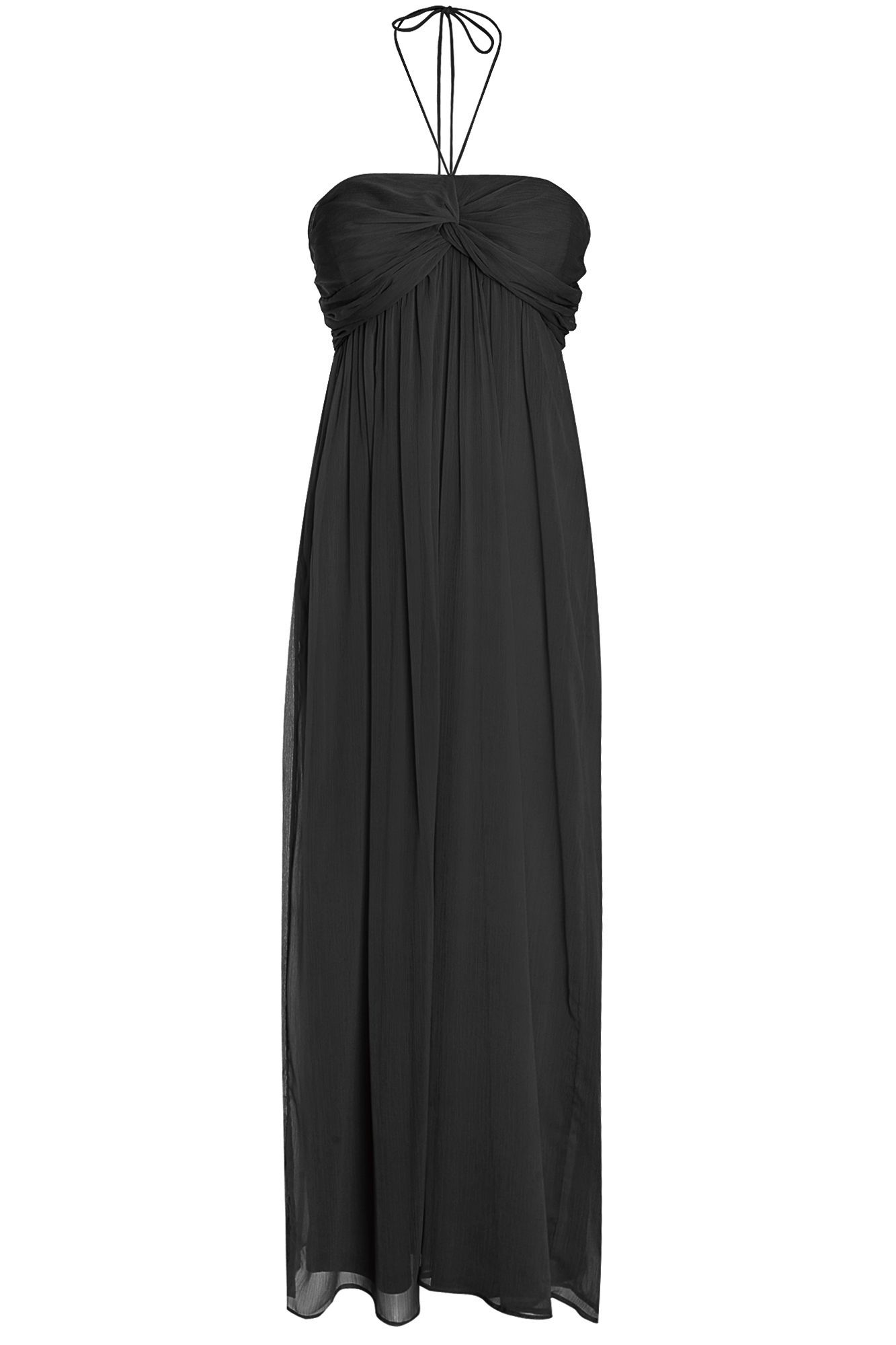 Atelier 61 Atelier 61 Ruched Halterneck Maxi Dress, Black