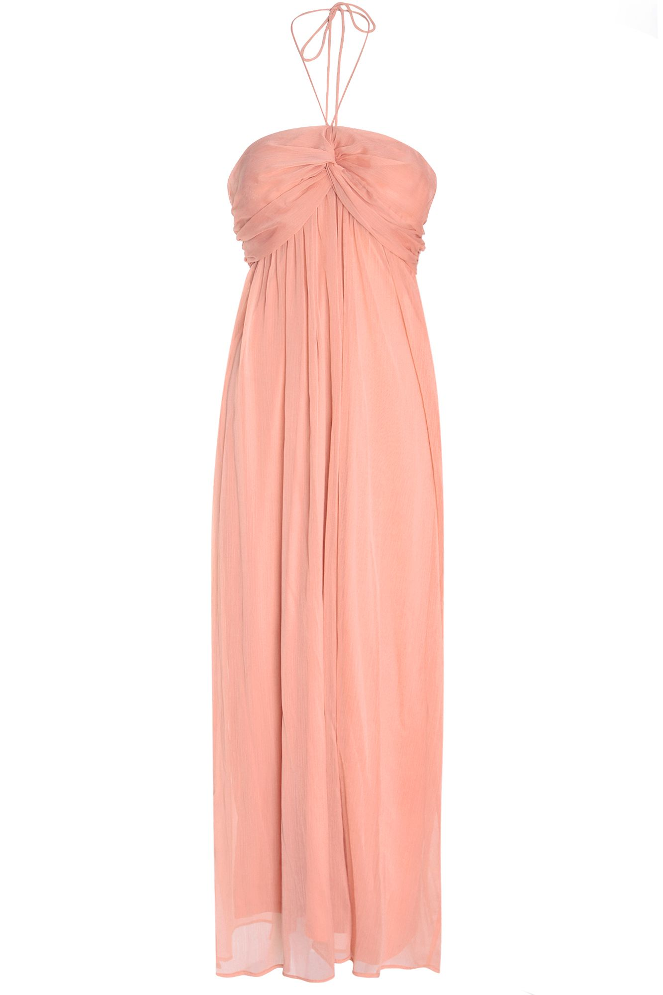 Atelier 61 Atelier 61 Ruched Halterneck Maxi Dress, Orange