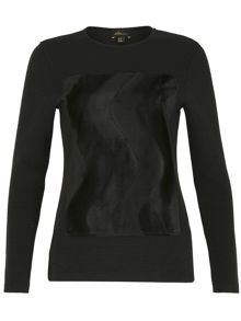 Ballentina Ribbed Fur Panel Top