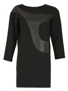 Leather Panel Shift Dress