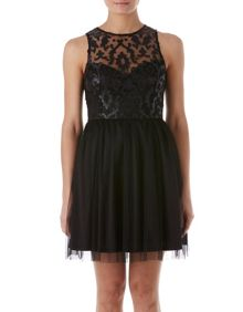 Zibi London Faux Leather Emboidered & Net Dress