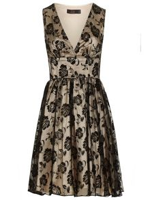 Zibi London Flocked Print Organza / Satin Dress