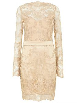 Long Sleeved Lace/ Satin Dress