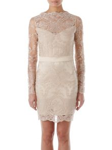Zibi London Long Sleeved Lace/ Satin Dress