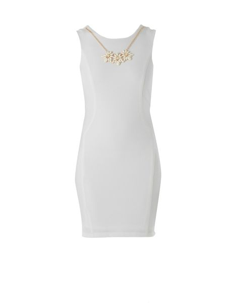 Zibi London Sleeveless Shift Dress With Necklace