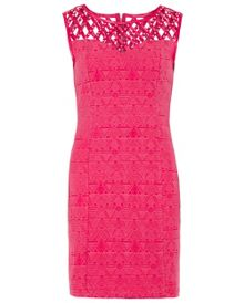 Zibi London Sleeveless Diamante Lattice Bodice Dress