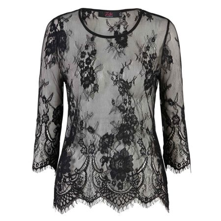 Zibi London Cropped Sleeve Lace Top