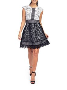 Zibi London Mono Lace Cap Sleeve Dress