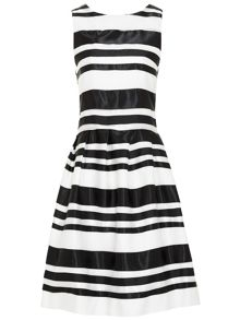 Zibi London Striped Black & White Ribbon Dress