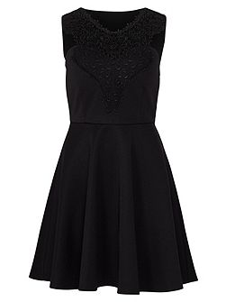 Black Lace Trim Swing Dress