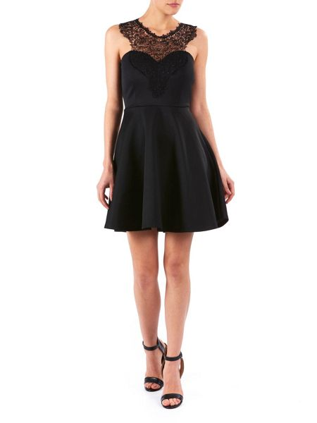 Zibi London Black Lace Trim Swing Dress