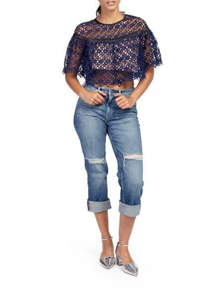 Zibi London Crochet Lace Two Tone Top