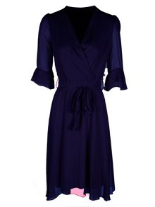 Zibi London 3/4 Sleeve Wrap Dress