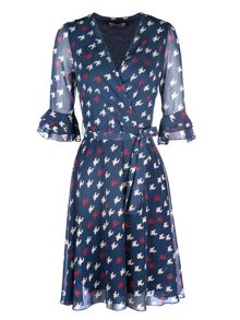 Zibi London Dog Tooth Print 3/4 Sleeve Wrap Dress