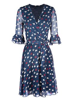 Dog Tooth Print 3/4 Sleeve Wrap Dress