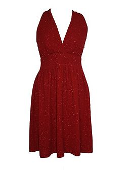 Wrap Neck Twisted Back Party Dress