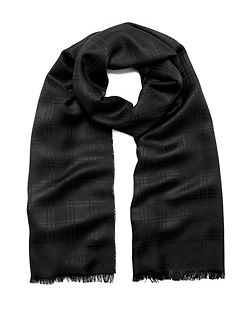 Check monogram rectangular scarf