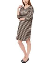 Striped Batwing Sleeved Dress