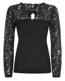 Jaeger Wool Lace Panelled Sweater