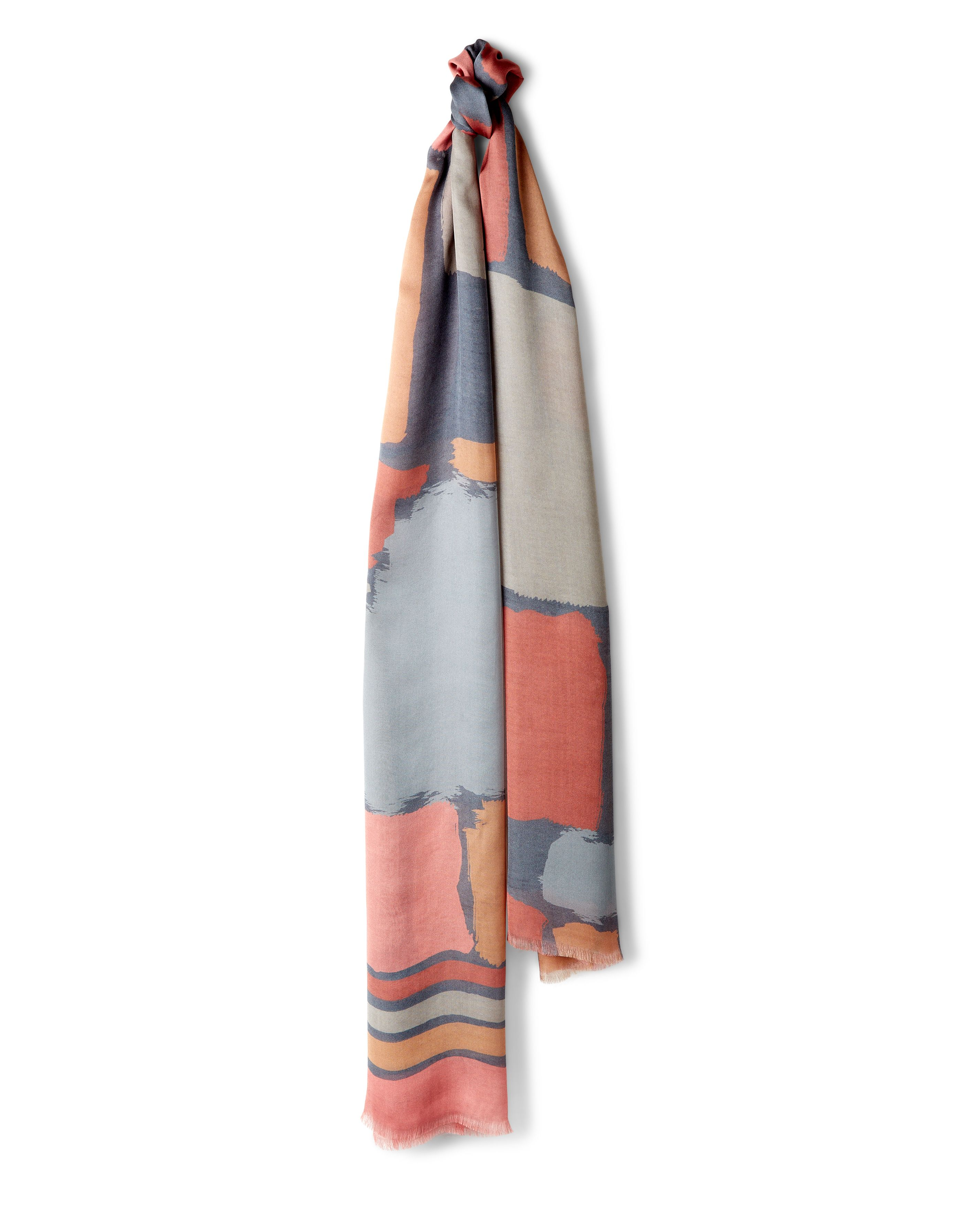 Jaeger Silk Block Print Scarf Neutral £99.00 AT vintagedancer.com