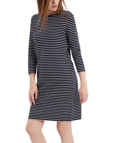 Jaeger Zip Detail Breton Stripe Dress