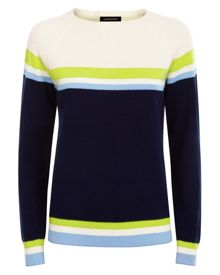 Jaeger Wool Cashmere Striped Sweater