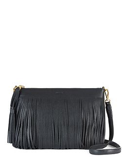 Leather Fringed Cross-Body Bag