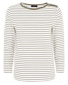 Jaeger Zip Detail Fine Stripe Top