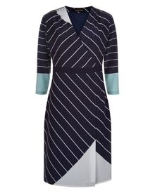 Jaeger Silk Graphic Stripe Dress