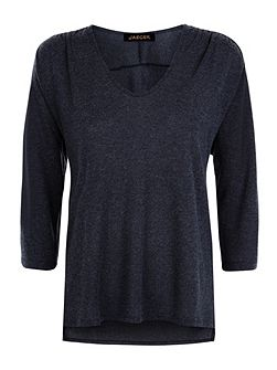 Wool Blend Jersey Gathered Top
